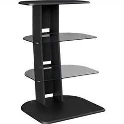 Altra Furniture Galaxy Audio Pier with Glass Shelves in Black