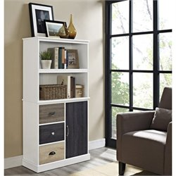 Altra Furniture Mercer Storage Bookcase with Multicolored Door and Drawers in White