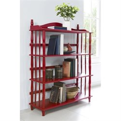 Altra Furniture Daysha 4 Shelf Spindle Leg Bookcase in Red