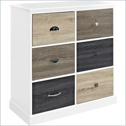 Altra Furniture Mercer 6 Door Storage Cabinet with Multicolored Doors in White