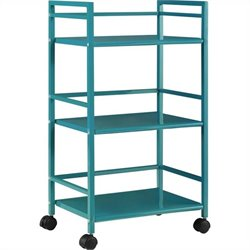 3 Shelf Metal Rolling Utility Cart in Teal