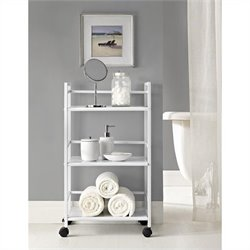 3 Shelf Metal Rolling Utility Cart in White