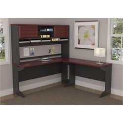 Altra Furniture Pursuit L Desk with Hutch Credenza Bridge in Cherry and Gray