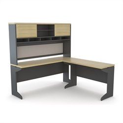 Altra Furniture Benjamin L Desk with Hutch Credenza Bridge in Natural and Gray