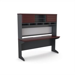 Altra Furniture Pursuit Credenza and Hutch Bundle in Cherry and Gray