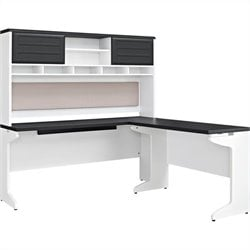 Altra Furniture Pursuit L Desk with Hutch Credenza Bridge in White and Gray