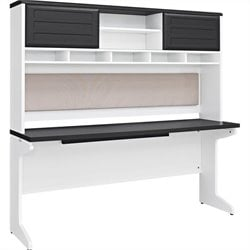 Credenza and Hutch Bundle in White and Gray