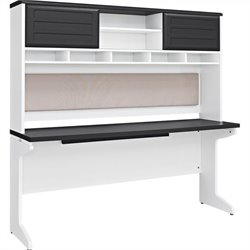 Altra Furniture Pursuit Credenza and Hutch Bundle in White and Gray