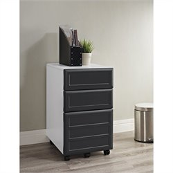 Altra Furniture Pursuit Mobile Vertical File Cabinet in White and Gray