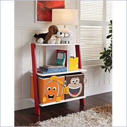 Altra Luci Ladder Bookcase with 2 Bins in White and Red