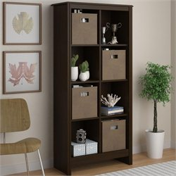 Altra Furniture Storage Cubby 8 Shelf Wood Bookcase in Resort Cherry