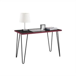 Altra Furniture Owen Retro Desk in Black and Red with Black Metal Legs