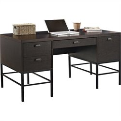 Altra Furniture The Manhattan Line Double Pedestal Desk with Metal Legs