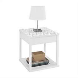 Altra Furniture Parsons End Table White with Chevron Pattern Top