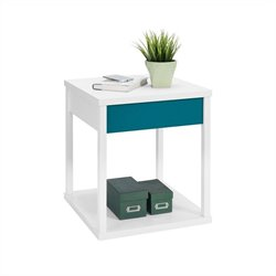 Altra Furniture Parsons End Table White Finish with Teal Drawer Front