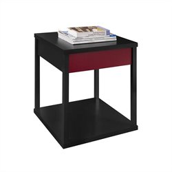 Altra Furniture Parsons End Table Black Finish with Red Drawer Front