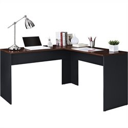 Altra Furniture The Works Contemporary L Shaped Desk in Cherry and Slate Gray