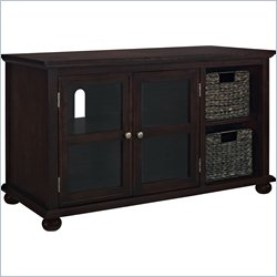 Altra Furniture Warren TV Stand with 2 Water Hyacinth Storage Bins in Espresso