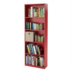 Altra Furniture Core 5-Shelf Bookcase in Ruby Red