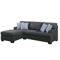 Poundex Bobkona Roman Reversible Sectional Sofa in Slate Black