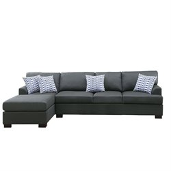 Poundex Bobkona Cayden Reversible Sectional Sofa in Slate Black
