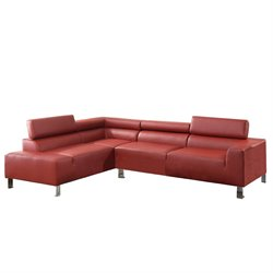 Poundex Bokona Miter Bonded Leather Sectional in Burgundy