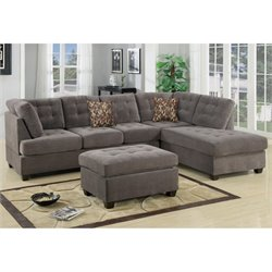 Poundex Bobkona Fairfax Suede Sectional with Ottoman in Charcoal