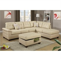Poundex Bobkona Randel 2 Piece Sectional Sofa with Ottoman in Khaki
