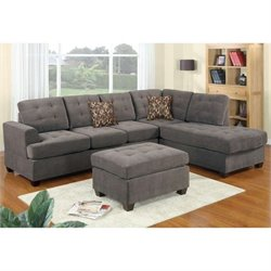 Poundex Bobkona Prissy Suede Sectional Sofa with Ottoman in Charcoal