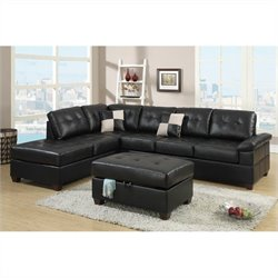 Poundex Bobkona Randel 2 Piece Sectional Sofa with Ottoman in Black