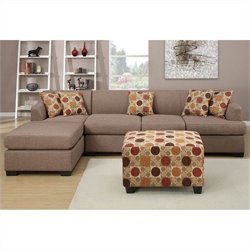 Poundex Bobkona Hudson 2 Piece 4 Seat Sectional with Ottoman in Stone