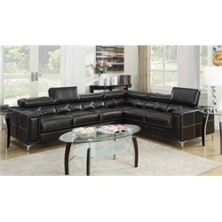 Poundex Bobkona Claxton Leather Sectional in Black