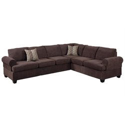 Poundex Bobkona Salerno 2 Piece Adjustable Sectional in Coffee