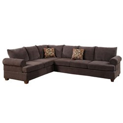 Poundex Bobkona Paxton 2 Piece Adjustable Sectional in Dark Brown