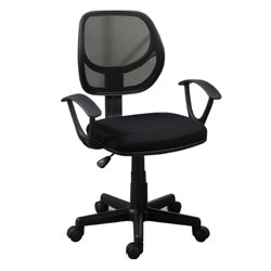 Poundex Mid Back Mesh Office Chair in Black
