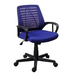 Poundex Faux Leather Office Chair in Blue