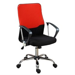 Poundex Mesh Back Two Tone Office Chair in Red and Black