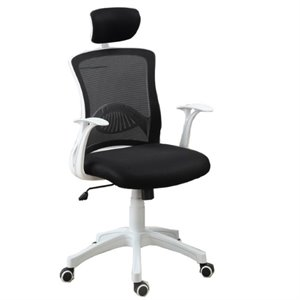 Poundex Mesh Back Two Tone Office Chair in White and Black