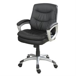 Poundex Faux Leather Swivel Office Chair in Black