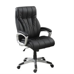 Poundex Faux Leather Swivel Executive Office Chair in Black