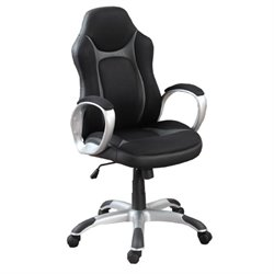 Poundex High Back Swivel Office Chair in Black