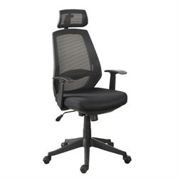 Poundex Mesh High Back Swivel Office Chair in Black