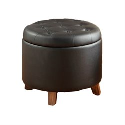 Poundex Round Faux Leather Storage Ottoman