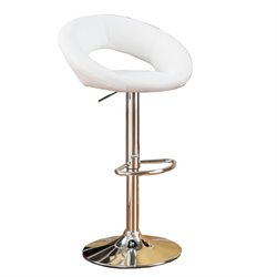 Poundex Faux Leather Adjustable Swivel Bar Stool in White (Set of 2)