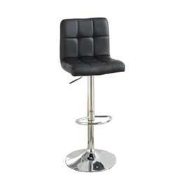 Poundex Faux Leather Adjustable Swivel Bar Stool in Black (Set of 2)