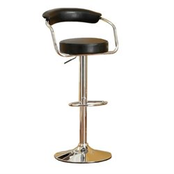 Poundex Faux Leather Adjustable Swivel Bar Stool (Set of 2)