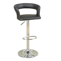 Poundex Faux Leather Adjustable Bar Stool (Set of 2)