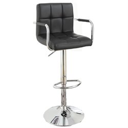 Poundex Faux Leather Upholstered Adjustable Bar Stool (Set of 2) (A)