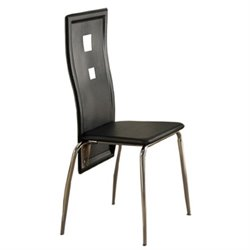 Poundex Faux Leather Dining Chair in Black (Set of 2)