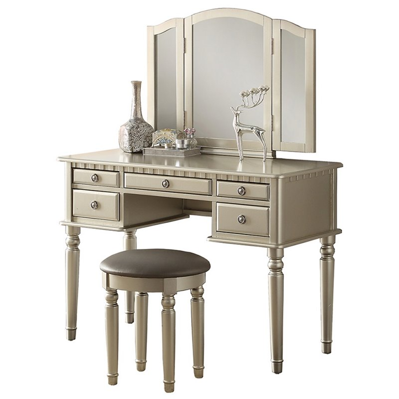 Poundex Bobkona St Croix Vantiy Set With Stool In Silver